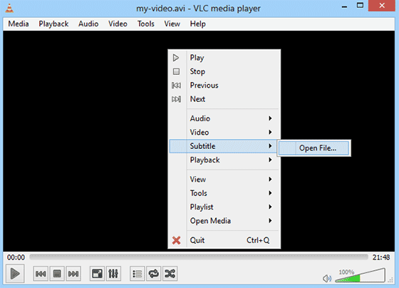 Playing Subtitles in VLC media Player