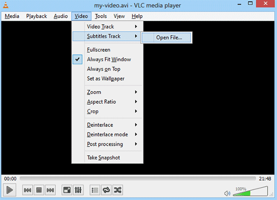 Opening subtitles file in VLC media player