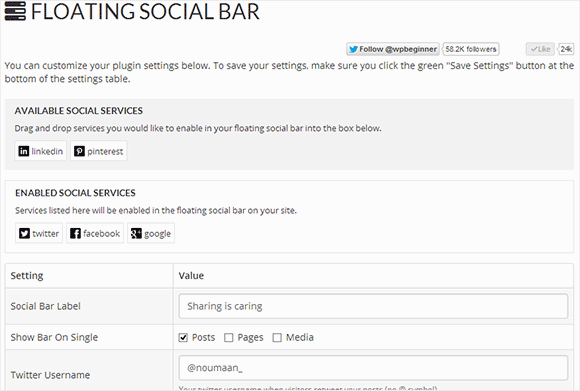 Floating social bar plugins