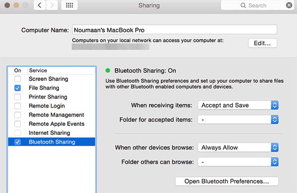 Turning on Bluetooth file sharing on Mac OS X to  send an receive files from Android devices