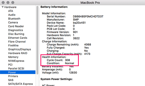 battery cycle count in macbook pro